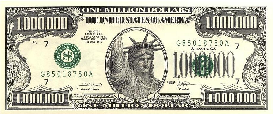 1 million dollar bills (3 bills)