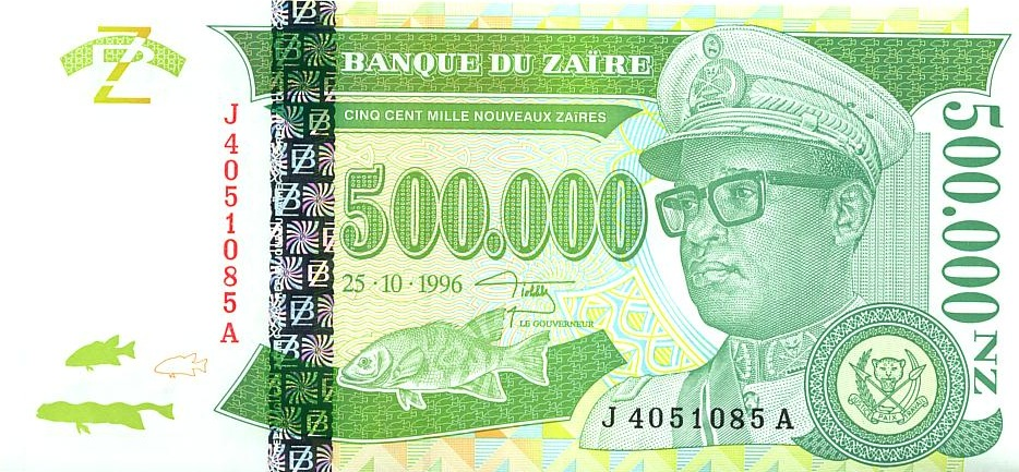 Zaire Banknote of 500000 new Zaire 1996