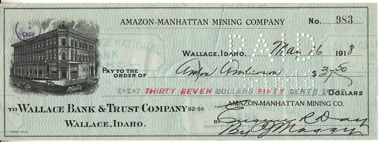 U S  Bank check 37,50 dollar 1918 | Banknotes | Online store