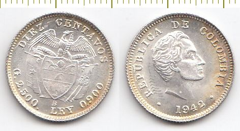 Colombia Coin (silver) 10 centavo 1942 В (from the roll
