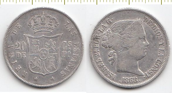 Philippines Coin (silver) 20 centime 1868