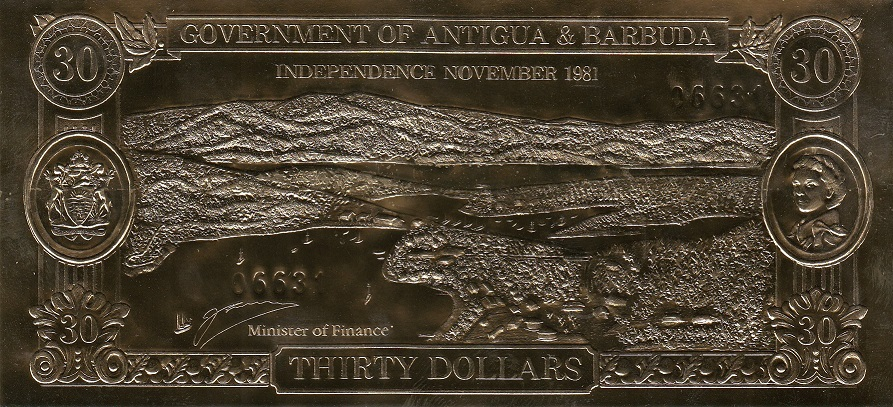 Antigua and Barbuda Banknote 30 dollars 1981 (1983) year - Iguana (Official release)