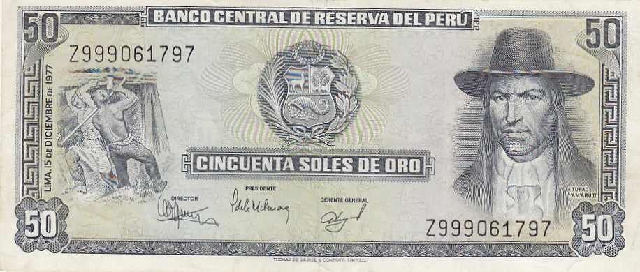 Peru Banknote 50 soles 1977 Series replacement Z