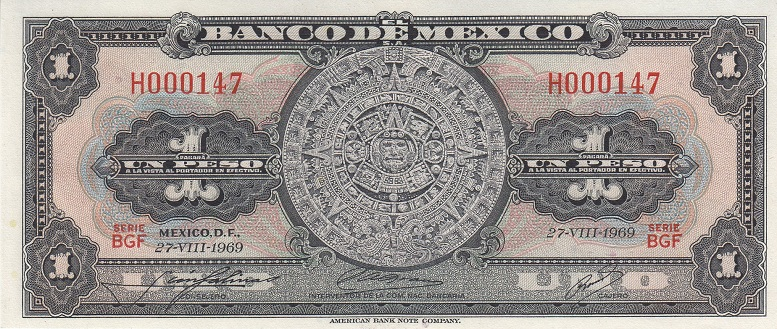 Mexico Banknote 1 peso 1969 Short number